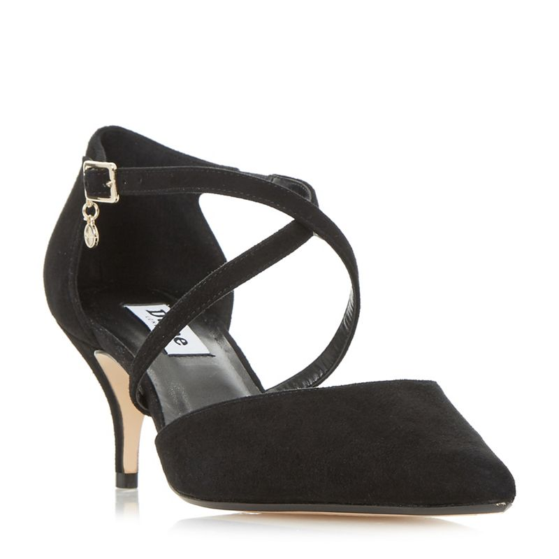 Dune - Black Courtnee Cross Strap Kitten Heel Court Shoes