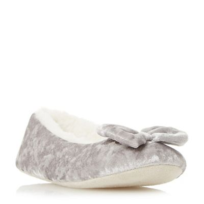 Head Over Heels by Dune - Grey 'Fayee' faux fur bow slippers