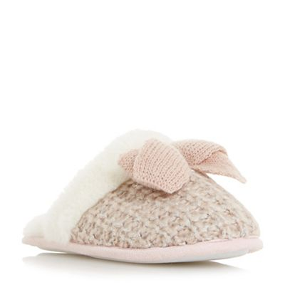 Head Head Head Over Heels by Dune - Light pink 'Follie' backless knit bow trim slippers b30f45