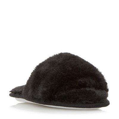 Head Over Heels by Dune - Black 'Fraya' fluffy slider slippers