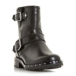 Dune - Black 'Riker' studded buckle strap biker boots