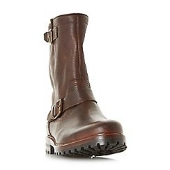 Dune - Dark brown 'Camberly' tall double buckle boots