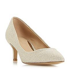 Head Over Heels by Dune - Gold 'Annabel' kitten heel court shoes