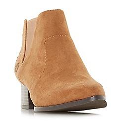 Head Over Heels by Dune - Tan 'Starry' block heel ankle boots