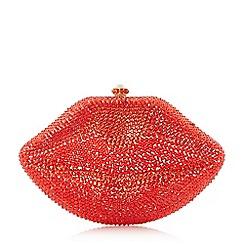 Dune - Red 'Berrtie' bejewelled lips clutch bag