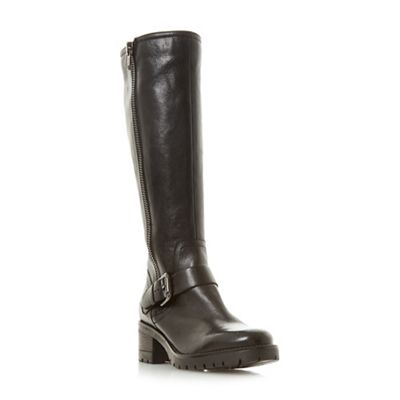 Dune - Black leather 'Tilburry' block heel knee high boots