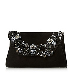 Dune - Black 'Bathilda' floral trim clutch bag