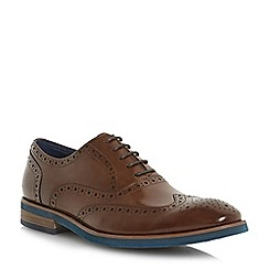 Dune - Tan 'Preppy' punch hole wingtip  low block heel brogues