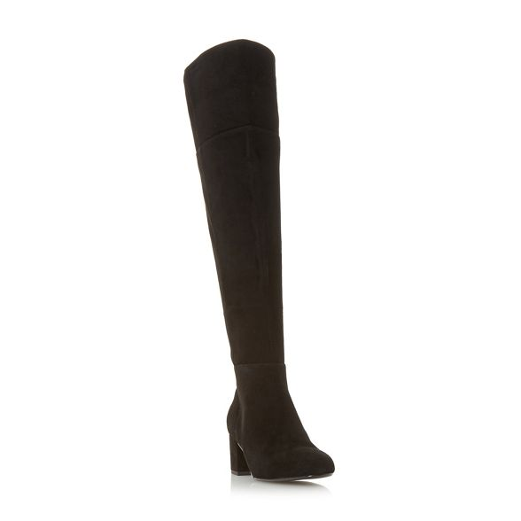 high suede boots knee heel block 'Spears' Dune Black R6q4Wac561