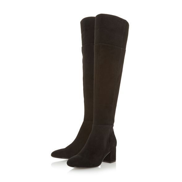 heel block 'Spears' Black suede knee Dune boots high wOtIqSwnxU