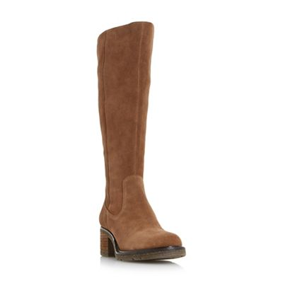 Dune - Brown 'Teds' block heel knee high boots