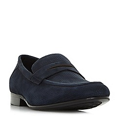 Dune - Navy 'Palazzo' perforated penny loafers