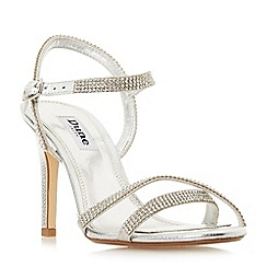 Dune - Silver leather 'Madalenna' high stiletto heel ankle strap sandals