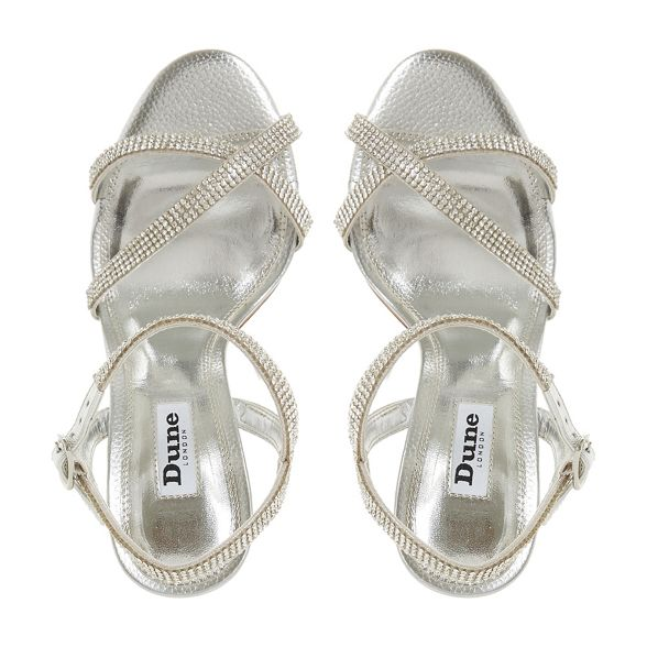 strap heel high Silver sandals stiletto Dune ankle 'Madalenna' leather AqOw1X0C