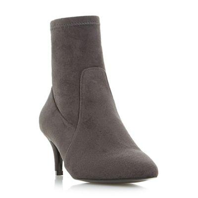 Dune - Grey 'Orllanda' pointed toe kitten heeled ankle sock boots