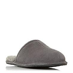 Dune - Grey 'Frosty' warm lined mule slippers