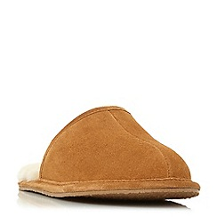 Dune - Tan 'Frosty' warm lined mule slippers