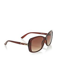 Dune - Brown 'Geneva' acetate square frame sunglasses