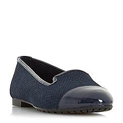 Dune - Navy leather 'Genevene' ballet pump shoes