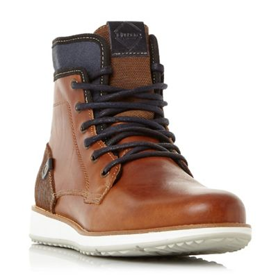 Dune - Tan 'Cambus' contrasting sole lace up boots