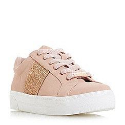 Head Over Heels by Dune - Natural 'Embellish' lace up trainers