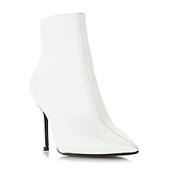 Dune - White leather 'Originate' stiletto heel ankle boots
