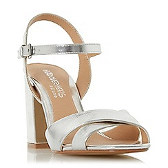 Head Over Heels by Dune - Silver 'Missty' high block heel ankle strap sandals