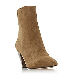 Dune - Tan suede 'perru' mid block heel ankle boots