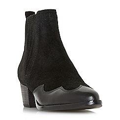 Dune - Black suede 'Papio' mid block heel ankle boots