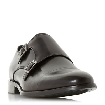 Dune - Black 'Pires' double buckle monk shoes