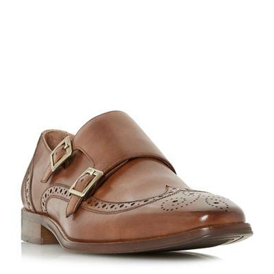 Dune - Tan 'Patch' double buckle buckle buckle monk shoes 0581e8