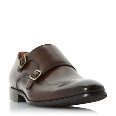 Dune - Brown 'Poyet' double buckle monk shoes