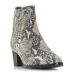 Dune - Natural suede 'Papio' mid block heel ankle boots