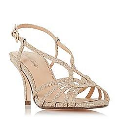Roland Cartier - Gold glitter 'Millah' mid stiletto heel ankle strap sandals