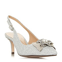 Roland Cartier - Silver 'Dianah' mid kitten heel ankle strap sandals