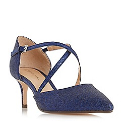 Roland Cartier - Navy 'Doffy' mid kitten heel court shoes