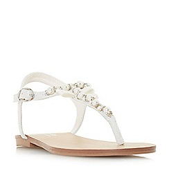 Head Over Heels by Dune - White 'Lucii' t-bar sandals