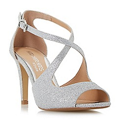 Head Over Heels by Dune - Silver glitter 'Carrmen' high stiletto heel peep toe sandals