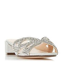 Roland Cartier - Silver glitter 'Michella' block heel ankle strap sandals