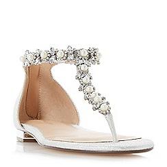 Roland Cartier - Silver glitter 'Molina' t-bar sandals
