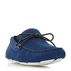 Dune - Blue 'Bluewater' embossed plait lace driver loafers