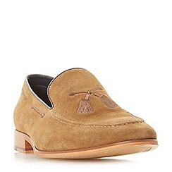 Dune - Tan 'Penry' embroidered slipper loafers