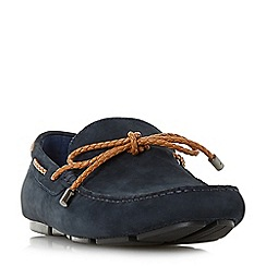 Dune - Navy 'Barnstable' plait lace driver loafers