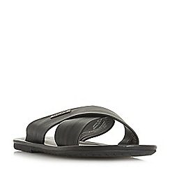 Dune - Black 'Izzard' leather toe post sandals