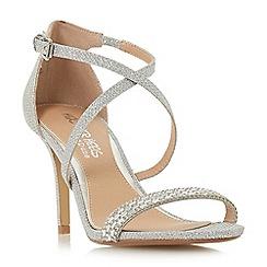 Head Over Heels by Dune - Silver 'Missy' mid kitten heel ankle strap sandals