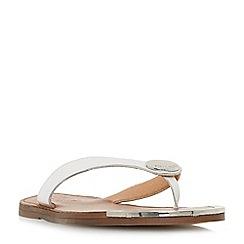 Dune - White leather 'Lagos' t-bar sandals
