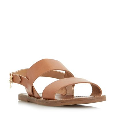 Dune   Tan Leather 'lowpez' Ankle Strap Sandals by Dune