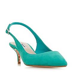 Dune - Green suede 'Casandra' kitten heel court shoes