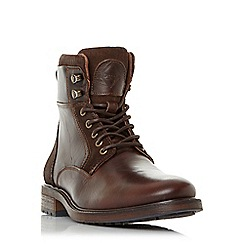 Dune - Brown 'Colchester' cuffed lace up worker boots