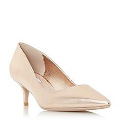 Dune - Rose leather 'Alesandra' mid kitten heel court shoes